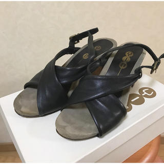 イン(YIN)のHEELANDTOE購入 YIN レザーヒールサンダル ブラック 24cm(サンダル)