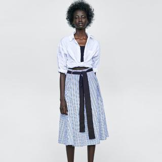 ザラ(ZARA)のザラ★リボン付きストライプ柄スカート M(ロングスカート)