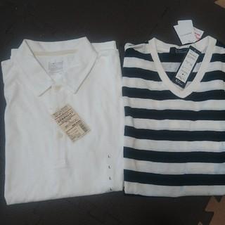 MUJI (無印良品) - 新品タグ付 メンズ ポロシャツ白とボーダーTシャツ