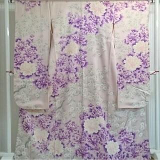 送料無料◆振袖◆ピンク◆紫◆正絹◆裄66.5㎝肩丈162.5㎝◆広襟◆ (振袖)
