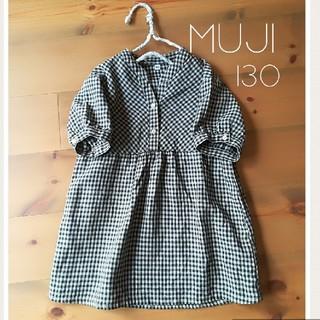 MUJI (無印良品) - 無印良品 リネン100% 130cm チュニック ワンピース