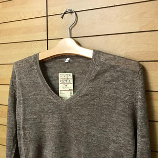 ムジルシリョウヒン(MUJI (無印良品))の値下げ 新品 無印良品 フレンチリネンUVカットVネックセーター(ニット/セーター)