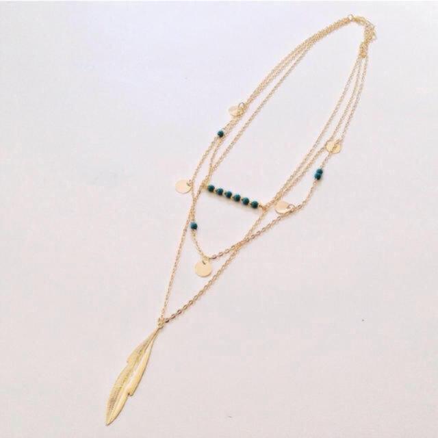 no1230/フェザー&ターコイズの3連ネックレス ハンドメイドのアクセサリー(ネックレス)の商品写真