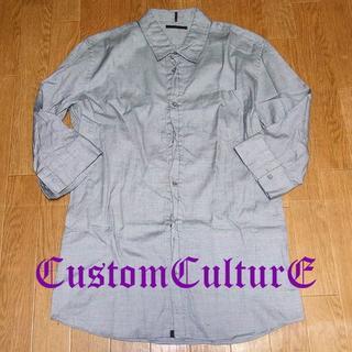 カスタムカルチャー(CUSTOM CULTURE)のカスタムカルチャー メンズ 48 七分丈デザインシャツ コットン シルバーグレー(シャツ)