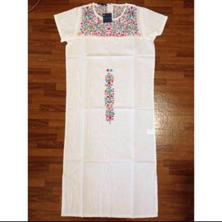 アンティックバティック(Antik batik)の処分!ANTIK BATIK 花柄刺繍ワンピース ホワイト M(ひざ丈ワンピース)