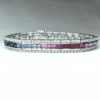 1344 サファイア 8.87ct ダイヤモンド2.22ct WG ブレスレット(ブレスレット/バングル)
