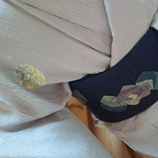 雪輪に草花や蜻蛉 膨れ織小紋 単衣(着物)