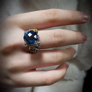スイスブルー・ ブルートパーズ ×カラーサファイア ダイヤ K18 WG リング(リング(指輪))