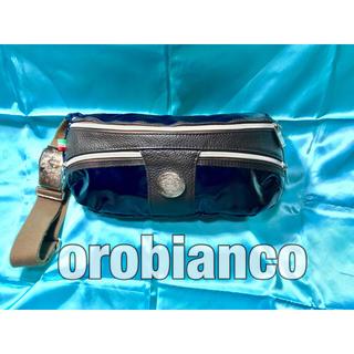オロビアンコ(Orobianco)のオロビアンコ ボディバッグ エナメル レザー ブルー イタリア製 中古美品(ボディーバッグ)