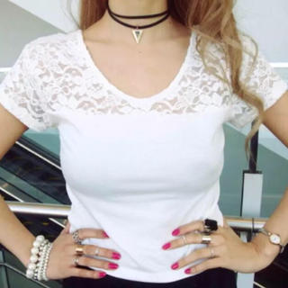 アンビー(ENVYM)の【新品】ENVYM レース切り替えTシャツ(Tシャツ(半袖/袖なし))