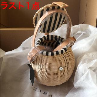 ザラ(ZARA)の完売品 ザラ ショルダー かご バッグ ラウンド ストライプ ラフィア サンダル(かごバッグ/ストローバッグ)