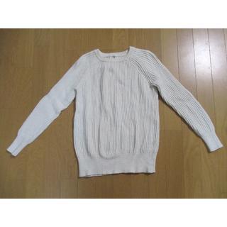 MUJI (無印良品) - 無印 MUJI オーガニックコットン畦編みクルーネックセーター S白 ニット