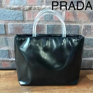 e7dab6c7ebf5 プラダ(PRADA)のPRADA プラダ レザー 黒 エナメル トートバッグ ハンドバッグプラスチック(ハンドバッグ
