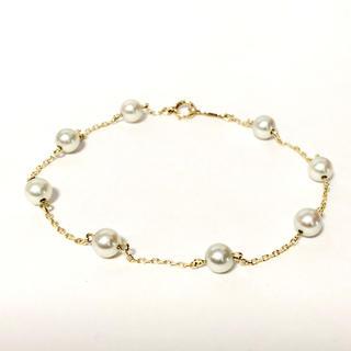 ミキモト(MIKIMOTO)のミキモト k14YG アコヤパール 真珠 ブレスレット 新品同様(ブレスレット/バングル)