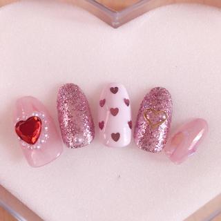 ネイルチップ ジェルネイル ゆめかわネイル ゆめかわいい ピンク ハート