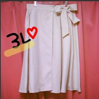 ⑤新品タグ付❤今季*3L*ウエスト大きめリボンの柔らかピンクのラップスカート(ロングスカート)