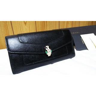 ブルガリ(BVLGARI)の正規美 ブルガリ セルペンティ スネーク装飾 長財布黒 ウォレット 蛇 保証書有(長財布)