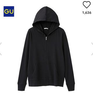 最終セール!! 美品  GU  UVカットフルジップパーカー  ブラックXL