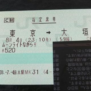 ジェイアール(JR)の「最終値引き」8月4日東京発 ムーンライトながら号窓側席(鉄道乗車券)