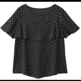 ジーユー(GU)のジーユー GU ドットフリルブラウス (黒×白)(XL) ハンガー用紐無し(シャツ/ブラウス(半袖/袖なし))