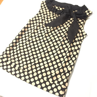 新品 ストロベリーフィールズ ドット リボン Tシャツ トップス 水玉 日本製