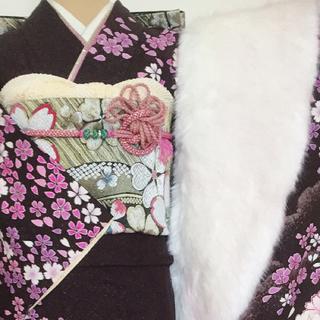 正絹 振袖 スペシャルセット【ラメ入り 舞桜】黒こげ茶(振袖)