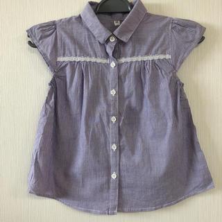 ジーユー(GU)の★紫ボーダーノースリーブ★(Tシャツ/カットソー)