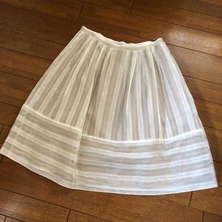 フォクシー(FOXEY)のFOXEY フォクシー シルク 麻 スカート 美品 サイズ42(ロングスカート)