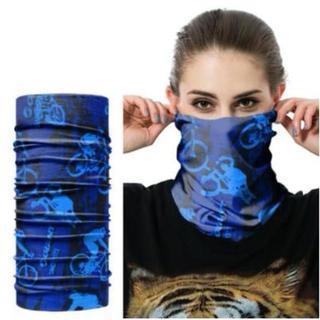 バンダナ チューブ型 マジックスカーフ リストバンド ネックウォーマー ブルー(ネックウォーマー)
