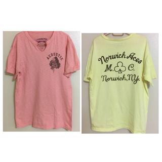 ツインズアコースティック(Twins Acoustic)のアコースティック acoustic Tシャツ 半袖 ピンク イエロー(Tシャツ/カットソー(半袖/袖なし))