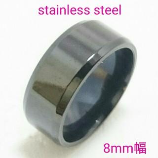 送料無料 刻印可 幅広鏡面ブラックタイプ 平打リング ステンレス ペアリングに(リング(指輪))