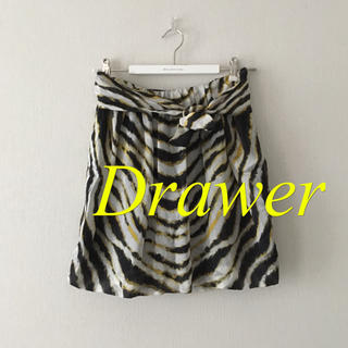 ドゥロワー(Drawer)のDrawer  総柄 100% シルクスカート(ミニスカート)