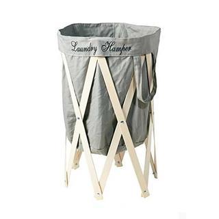 折りたたみ式 洗濯かご ランドリー ハンパー グレー/ナチュラル E