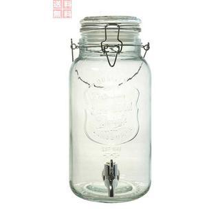 ガラス製 ジャグ ドリンクサーバー 蛇口付き 透明 4L -