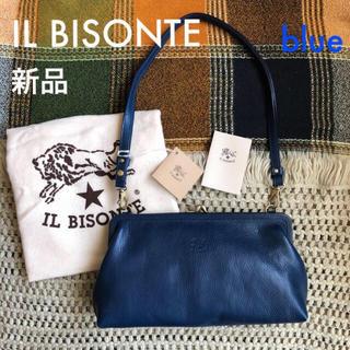 イルビゾンテ(IL BISONTE)のブルー✱価格3.7万✱イルビゾンテ✱がま口 3way レザー バッグ(ショルダーバッグ)