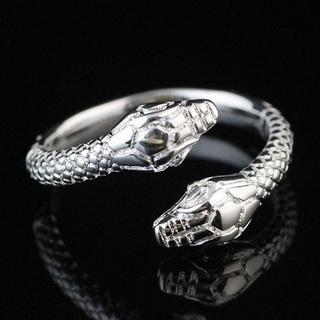 スネーク リング 白蛇 シルバー 925 刻印 指輪 開運 金運UP 保管袋付き(リング(指輪))