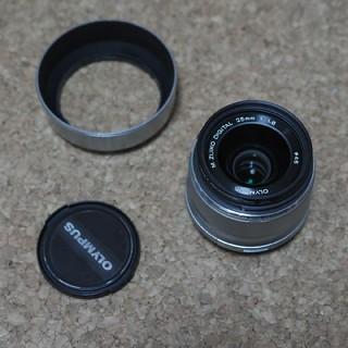 オリンパス(OLYMPUS)のオリンパス m.zuiko 25mm f1.8 シルバー フード付(レンズ(単焦点))
