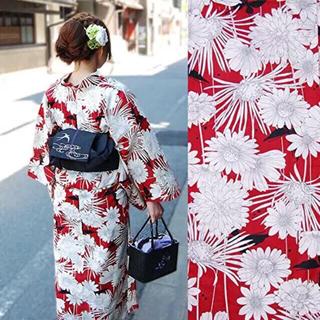 高級変り織浴衣 ボタニカル/花と蝶/赤  呉服屋の浴衣(浴衣)