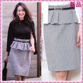 ジャスグリッティー(JUSGLITTY)の新品タグ付き🌸ベルト付ペプラムタイトスカート(ひざ丈スカート)