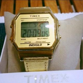 タイメックス(TIMEX)のTIMEX デジタル ゴールドレザー(腕時計(デジタル))