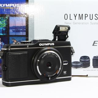 オリンパス(OLYMPUS)の24h以内即日発送❤️オリンパスE-P3 ブラック レンズキット♪(ミラーレス一眼)