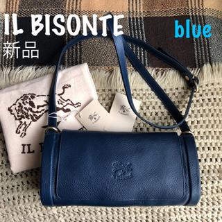 イルビゾンテ(IL BISONTE)のブルー✱価格3.9万✱イルビゾンテ✱筒型 フラップ ポシェット バッグ(ショルダーバッグ)