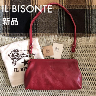 イルビゾンテ(IL BISONTE)のロッソ✱価格3.7万✱イルビゾンテ✱がま口 3way レザー バッグ レッド 赤(ハンドバッグ)
