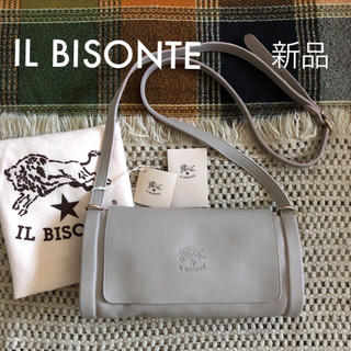 イルビゾンテ(IL BISONTE)の限定✱トープ✱価格3.9万✱イルビゾンテ✱筒型 フラップ ポシェット バッグ(ショルダーバッグ)