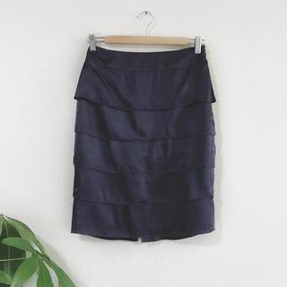 クードシャンス(COUP DE CHANCE)のクードシャンス ティアードスカート フリル ネイビー ママ オフィス OL 上品(ひざ丈スカート)