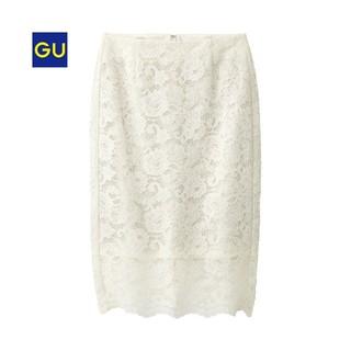 ジーユー(GU)のGU レースタイトスカート 白(ひざ丈スカート)