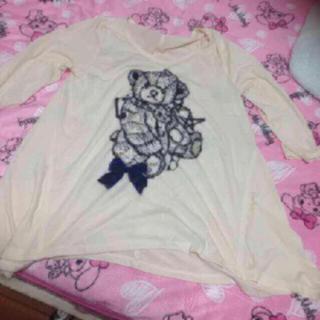 キューティーブロンド(Cutie Blonde)のクマ Tシャツ カットソー 今季 リボン ラメ お洒落(カットソー(長袖/七分))