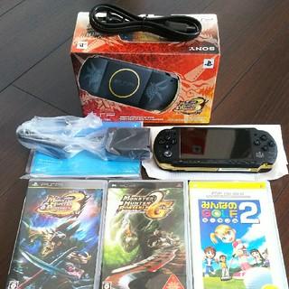 プレイステーションポータブル(PlayStation Portable)のPSP本体 MHP 3rd ハンターズモデル ソフトセット(携帯用ゲーム本体)