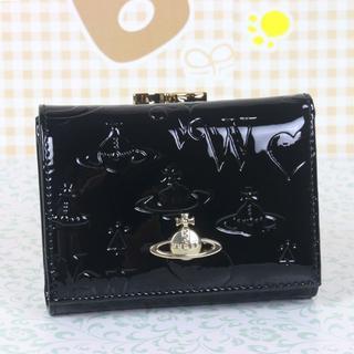 ヴィヴィアンウエストウッド(Vivienne Westwood)のヴィヴィアンウエストウッド 折財布 がま口財布 エナメル ブラック(財布)