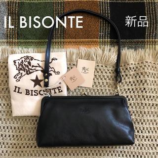 イルビゾンテ(IL BISONTE)のブラック✱価格3.7万✱イルビゾンテ✱がま口 レザー 3way バッグ 黒(ハンドバッグ)